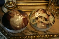 Porcelain jewelry round boxes Royalty Free Stock Images