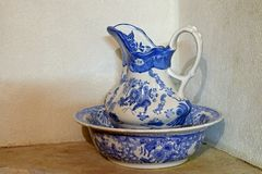 Porcelain jug and basin. Antique blue and white porcelain jug and basin Royalty Free Stock Photos