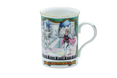 Porcelain made in England mug cup. Exclusive mug -high-quality collector`s porcelain for traditional english teatime. Decorated with floral patterns and Royalty Free Stock Photos
