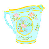 Porcelain milk jug with floral pattern.  Royalty Free Stock Photography