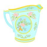 Porcelain milk jug with floral pattern. Part tea service vector illustration stock illustration