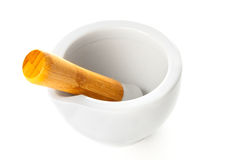 Porcelain mortar and pestle Stock Photo