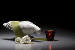 Porcelain mourning dove with white roses Royalty Free Stock Image