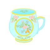 Porcelain mug of with floral pattern. Part tea service vector illustration Stock Photography