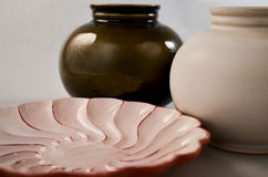 Porcelain. In photostudio. Still life of plate and vases stock photo