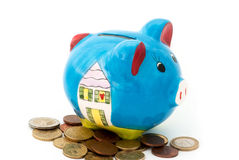 Porcelain piggy bank with coins Stock Image
