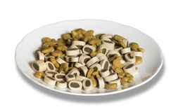 Porcelain plate with cat food Stock Images