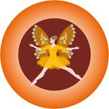 Porcelain plate with winged fairy. Vector template vector illustration