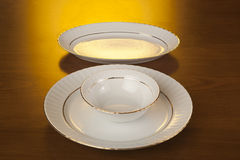 Porcelain Plates And Bowl Stock Photo