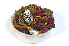 Porcelain potpourri. A porcelain bowl of potpourri Royalty Free Stock Photography