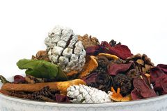 Porcelain potpourri. A porcelain bowl of potpourri Stock Photography