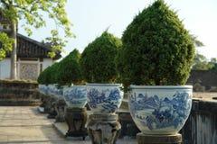 Porcelain pots. A row of the same porcelain flower pots Stock Photo