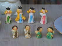 Porcelain princess and angels bibelots. For decoration your home royalty free stock photo