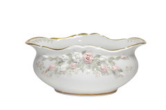 Porcelain salad bowl with gold border and pattern Royalty Free Stock Image
