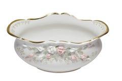 Porcelain salad bowl on white background Royalty Free Stock Photo