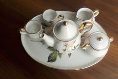 Porcelain set. White porcelain set for tea on the table Stock Photography