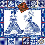Porcelain set. Blue ceramic tiles collage. Hand-drawn ladies in ball dresses. Stock Photo