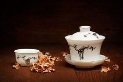Porcelain set for chinese tea ceremony of white gaiwan and cup s Stock Photo