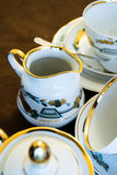 Porcelain set with a detailed decorations Royalty Free Stock Image