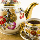 Porcelain set with flower motif Stock Photography