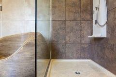 Porcelain shower base in a bathroom Stock Images