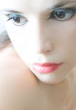 Porcelain skin. Woman with porcelain skin and peach lips Royalty Free Stock Photos