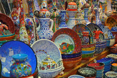 Porcelain souvenirs of Istanbul Grand Bazaar. A few souvenirs from grand market of Istanbul - Turkey Royalty Free Stock Image
