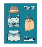 Porcelain summer outfit set Royalty Free Stock Photography