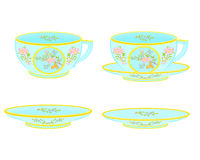 Porcelain tea cup and saucer with floral pattern. Part tea service vector illustration Royalty Free Stock Images