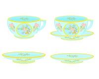 Porcelain tea cup and saucer with floral pattern. Part tea service vector illustration stock illustration