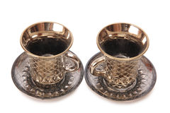 Porcelain tea cups four Stock Photo