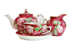 Porcelain tea service isolated Royalty Free Stock Photos