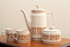 Porcelain tea set and kitchenware Stock Photo
