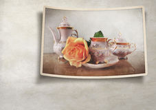 Porcelain tea set with retro vintage Instagram style effect Stock Photography