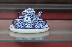 Porcelain tea set. Small blue white porcelain tea set stock photography