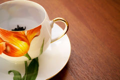 Porcelain teacup and saucer Stock Image
