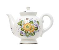 Porcelain teapot. China ware teapot with flowers pattern on white isolated Royalty Free Stock Photos