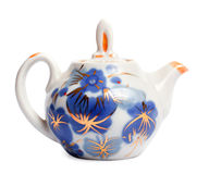 Porcelain teapot. On a white background Royalty Free Stock Photo