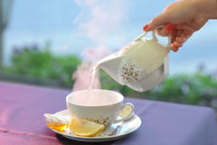 Porcelain teapot and cup with hot water. In a tray Stock Image