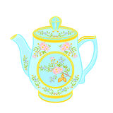 Porcelain teapot with floral pattern. Part tea service vector illustration Royalty Free Stock Images