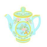 Porcelain teapot with floral pattern. Part tea service vector illustration royalty free illustration