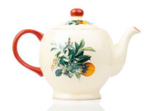 Porcelain teapot isolated on white Royalty Free Stock Photo