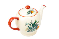 Porcelain teapot isolated on white Royalty Free Stock Images