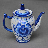 Porcelain teapot painted under Gzhel Stock Photography