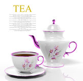 Porcelain teapot and teacup. On white background Royalty Free Stock Photos