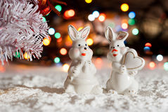 Porcelain toy rabbit for Christmas.  the new year. Porcelain toy rabbit for Christmas. for the new year Stock Images