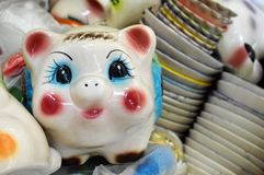 Porcelain traditional mexican piggy bank Stock Photos