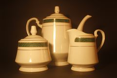 Porcelain Trio Set. Still Life  with Black background stock image