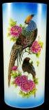 Porcelain vase birds and flowers. Isolated on black Royalty Free Stock Photo