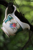 Porcelain in the Woods. A cup is left unnoticed hanging on the branch of a tree in the woods Stock Image